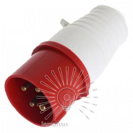 Вилка переносна LM2002 (ВП) Lemanso 16А / 4п (3п + н) 380-415V IP44 червона Lemanso - 1
