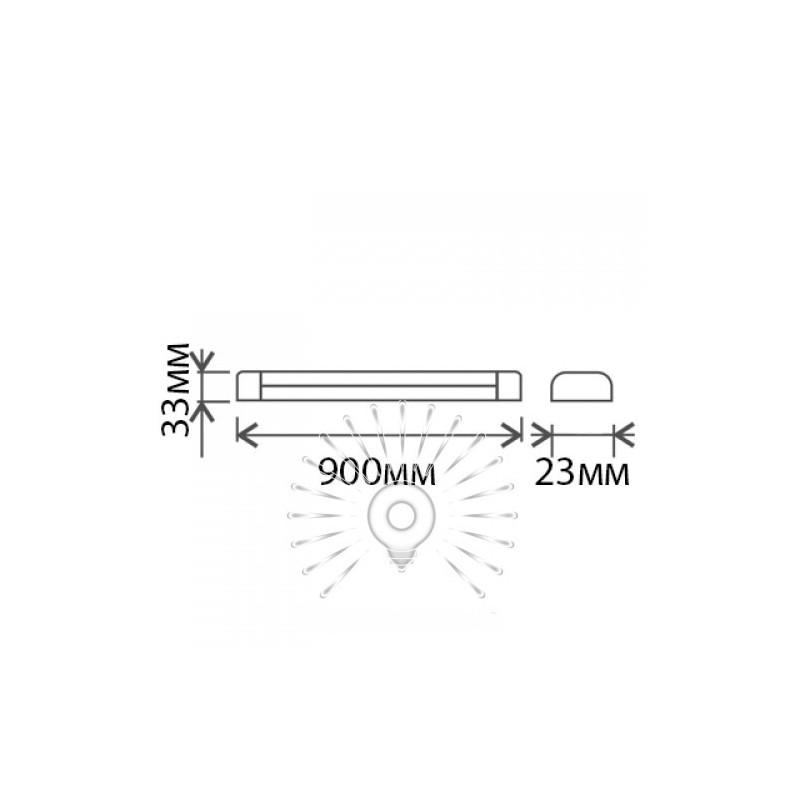 """Світильник Lemanso (100LM / W) 12W T5 2PIN 6500K 1200LM """"Пітон"""" + вимикач + 13,5cм мережевий шнур + кріплення до стіни / LM31005"""