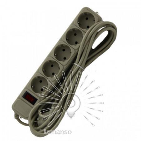 Удлинитель Lemanso с/з+кнопка 5м 5 гнезд / LMK060 + фильтр сетевой Lemanso - 1