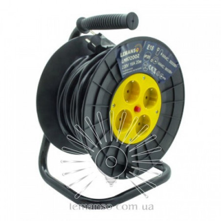Подовжувач-котушка LMK72002 4 гнізда 20м 16A з/з Lemanso захист від перевантаження, макс нагр 800-3000Вт Lemanso - 1