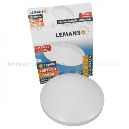 "Світильник LED Lemanso 26W 4500K 2080LM ""Рим"" IP20 180-265V / LM35001 (плафон 340 * 340мм, база 300 * 300мм) Lemanso - 1"