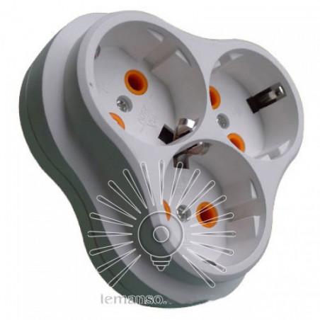 Трійник Lemanso із заземленням ромашка + сходинка білий LMA026 Lemanso - 1