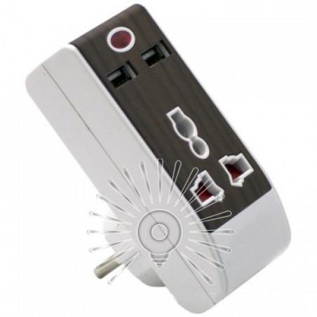 Перехідник - адаптер Lemanso з індикатором, 2USB 2.1A / LMA324 Lemanso - 1