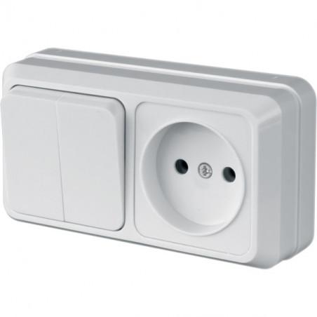 """Блок Вимик. 2 клавішний + розетка одномісна LVR10-799 ТМ """"LiDER"""" - 1"""