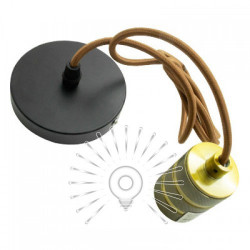Подвес металлический Lemanso 100 * 20мм + E27 ант. золото-черный 1.5м / LMA3222 для LED ламп Lemanso - 1