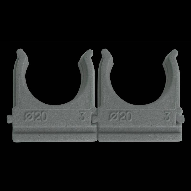 Клипса Ziplex™ для гофротрубы Ø20 серая. 100 штук Ziplex - 1