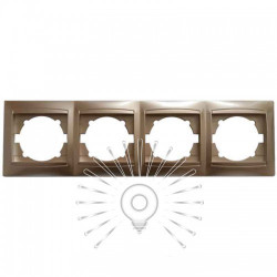 Рамка 4-я LEMANSO Сакура золото горизонтальная LMR1213 Lemanso - 1