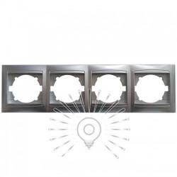 Рамка 4-а LEMANSO Сакура срібло горизонтальна LMR1313 Lemanso - 1