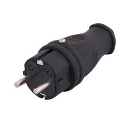 Вилка однофазная с заземлением каучук IP44 Артикул 106-0400-0105 Lezard - 1