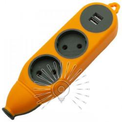 """Колодка """"Апельсин"""" 2 гнезда 10A/250V, 2 USB 2.1A, б/з Lemanso / LMK75004 Макс.2500Вт Lemanso - 1"""