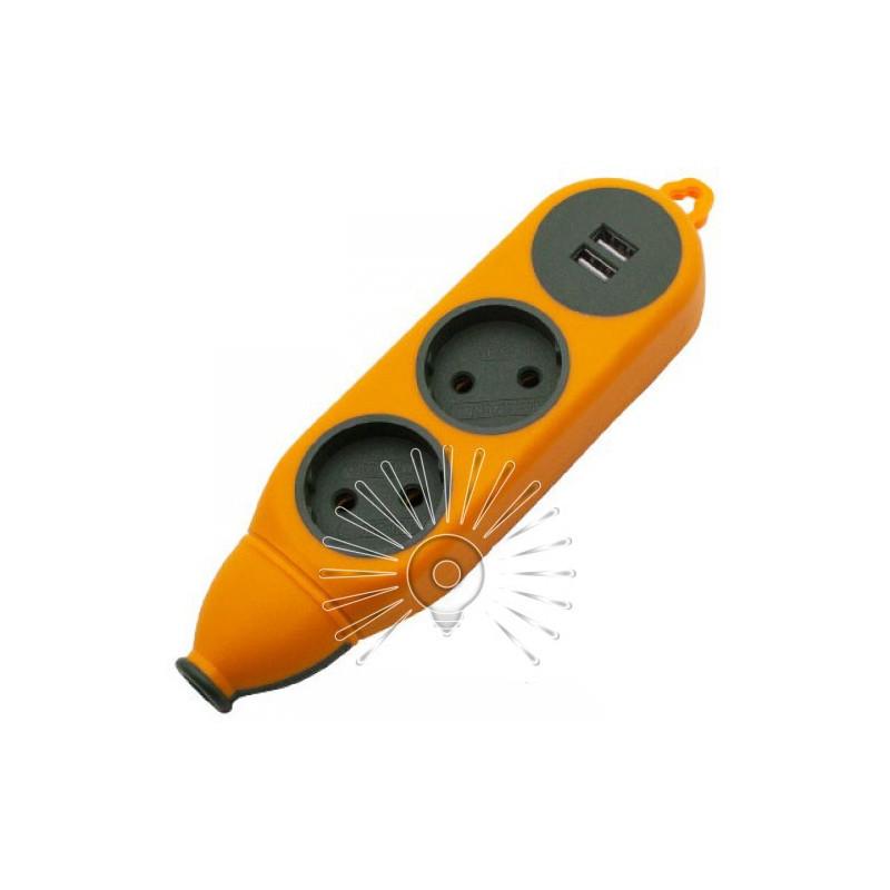 "Колодка ""Апельсин"" 2 гнізда 10A / 250V, 2USB 2.1A, б / з Lemanso / LMK75004 Макс.2500Вт Lemanso - 1"