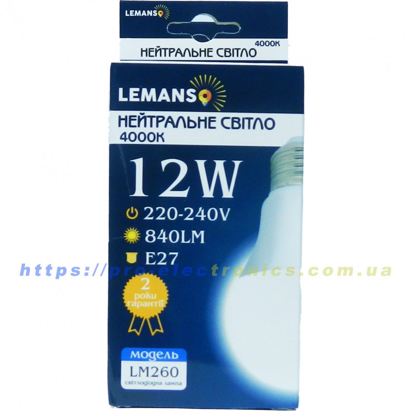 Лампа Lemanso LED 12W A60 E27 840LM. LM260 Lemanso - 2