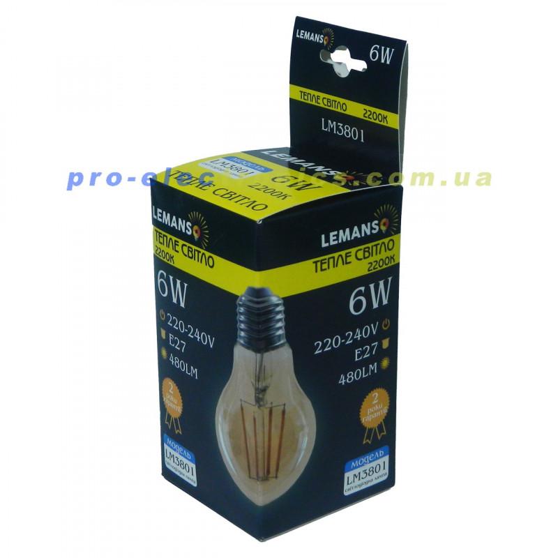 Лампа Едісона Lemanso світлодіодна 6W A60 E27 480LM 2200K 220-240V, золота / LM3801 Lemanso - 2
