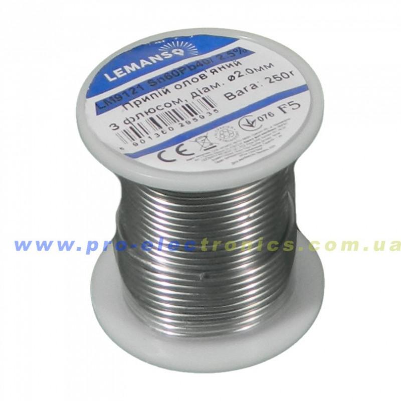 Припій Олов'яний з флюсом В Бухті Lemanso 2,5% 2,0 мм 250г / LM9121 Lemanso - 1