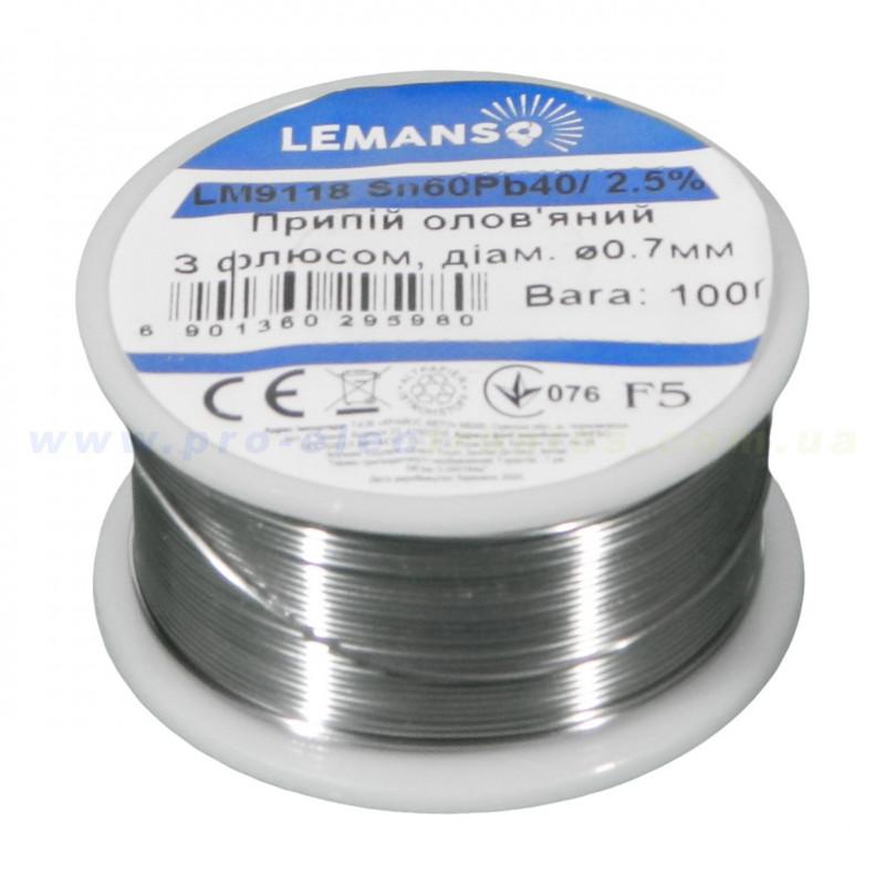 Припій Олов'яний З Флюсом В Бухті Lemanso 2,5% 0,7 мм 100г / LM9118 Lemanso - 1