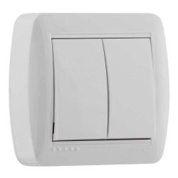 Выключатель двойной накладной Lezard 711-0200-101 Demet Белый Lezard - 1