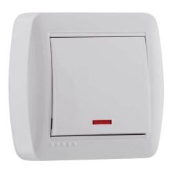 Выключатель с подсветкой накладной Lezard 711-0200-111 Demet Белый Lezard - 1