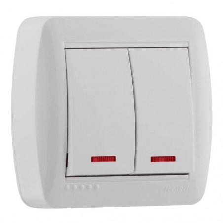 Выключатель двойной с подсветкой накладной Lezard 711-0200-112 Demet Белый Lezard - 1