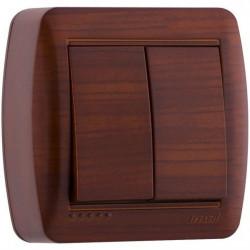 Вимикач подвійний накладний Lezard 711-0500-101 Demet Махагон Lezard - 1