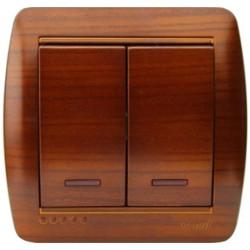 Выключатель двойной с подсветкой накладной Lezard 711-0200-112 Demet Махагон Lezard - 1