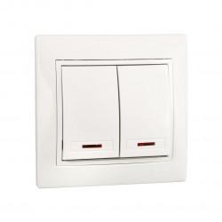 Выключатель двойной с подсветкой Lezard Mira 701-0202-112 Lezard - 1