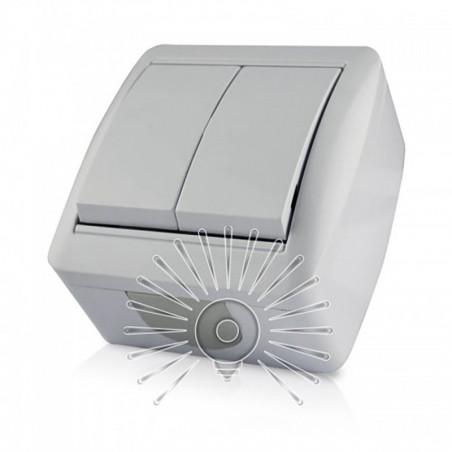 Выключатель накладной 2-й LEMANSO Магнолия белый LMR2002 Lemanso - 1