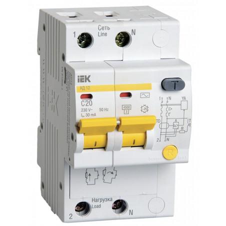 Диференціальний автомат IEK АД12 2Р 20А 30мА IEK - 1