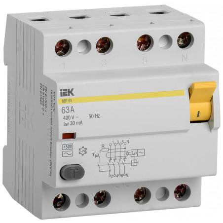 Диференційне реле (ПЗВ) ВД1-63 4Р 63А 30мА IEK IEK - 1