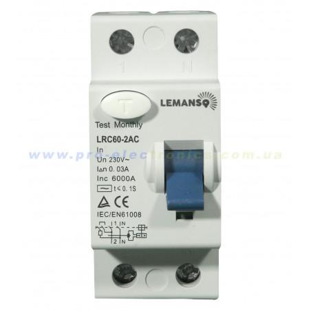 Диф.реле Lemanso 2п 63A 30mA RCCB LRC60 Lemanso - 1
