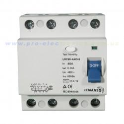 Диф.реле Lemanso 4п 25A 30mA RCCB LRC60 Lemanso - 1