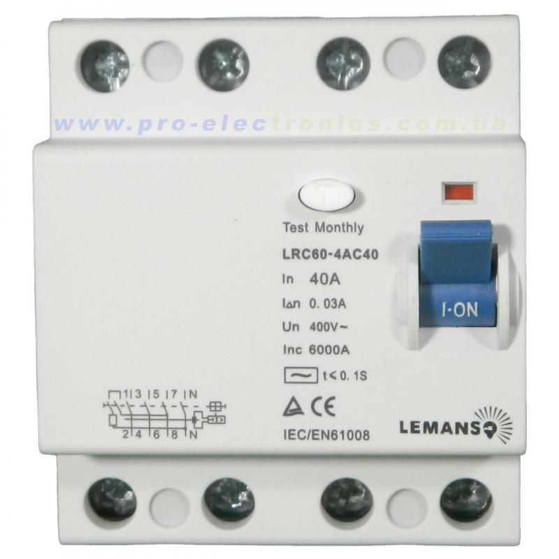 Диф.реле Lemanso 4п 40A 30mA RCCB LRC60 Lemanso - 2