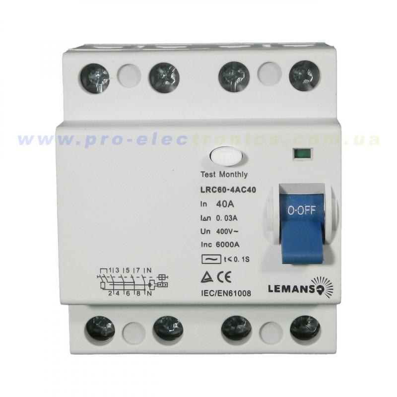 Диф.реле Lemanso 4п 63A 30mA RCCB LRC60 Lemanso - 1