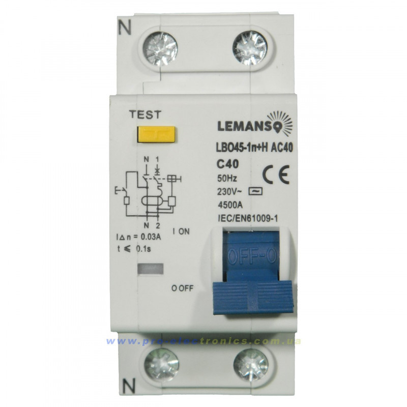 Диференціальний автомат Lemanso 4.5KA 1п+н 40A 30mA RCBO LBO45 Lemanso - 1
