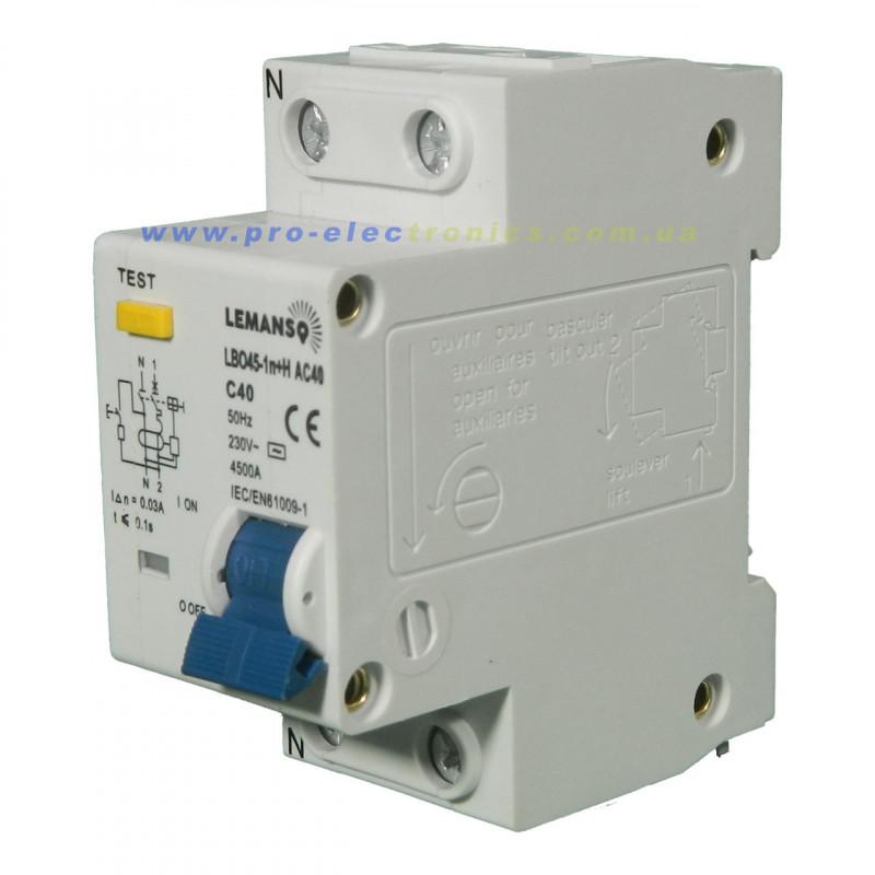 Диференціальний автомат Lemanso 4.5KA 1п+н 40A 30mA RCBO LBO45 Lemanso - 2