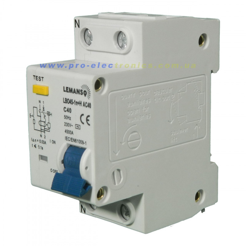Дифференциальный автомат Lemanso 4.5KA 1п+н 20A 30mA RCBO LBO45 Lemanso - 2