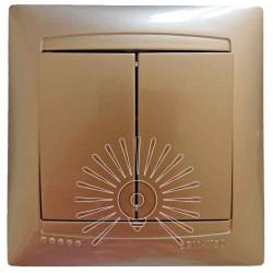 Выключатель 2-й LEMANSO Сакура золото LMR1205 Lemanso - 1