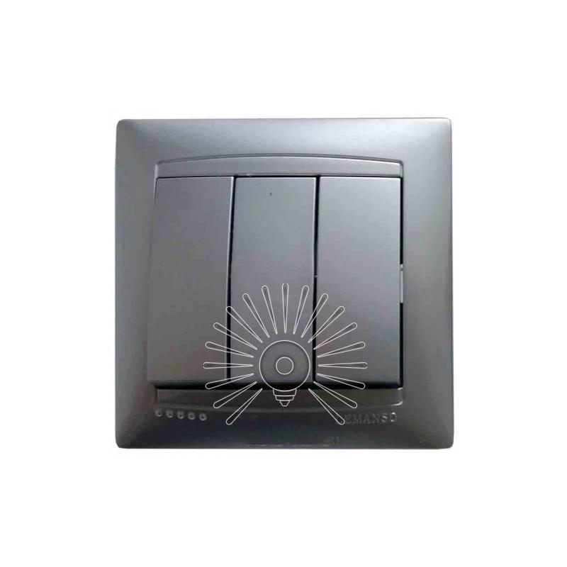 Вимикач 3-й LEMANSO Сакура срібло LMR1308 Lemanso - 1