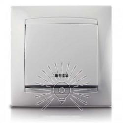 Выключатель 1-й + LED подсветка LEMANSO Сакура белый LMR1004 Lemanso - 1