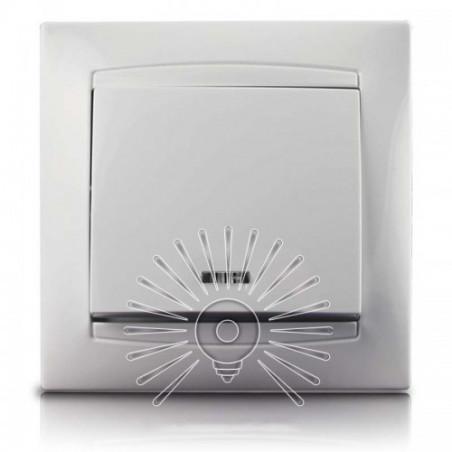 Вимикач 1-й + LED підсвічування LEMANSO Сакура білий LMR1004 Lemanso - 1