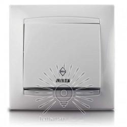 Выключатель 1-й проходной + LED подсветка LEMANSO Сакура белый LMR1003 Lemanso - 1