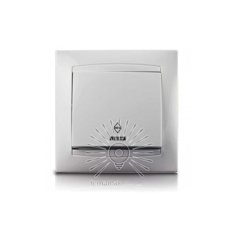 Вимикач 1-й прохідний + LED підсвічування LEMANSO Сакура білий LMR1003 Lemanso - 1