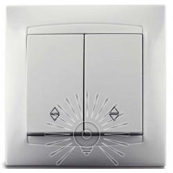 Выключатель 2-й проходной LEMANSO Сакура белый LMR1006 Lemanso - 1