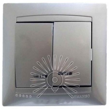 Вимикач 2-й + LED підсвітка LEMANSO Сакура срібло LMR1307 Lemanso - 1