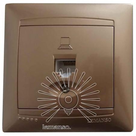 Розетка комп'ютерна 1-я LEMANSO Сакура золото LMR1228 Lemanso - 1