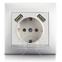 Розетка 1-а з заземленням + гнізда 2 USB LEMANSO Сакура біла Lemanso - 1