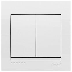 Вимикач подвійний Lezard Deriy 702-0202-101 білий Lezard - 1