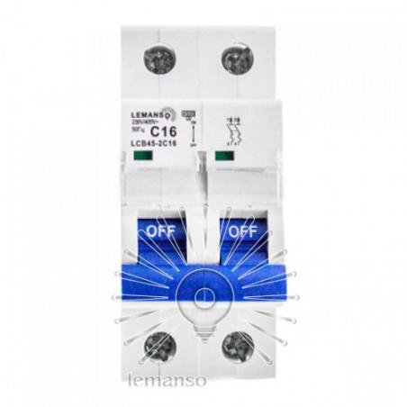 Автоматичний вимикач Lemanso 4.5KA (тип С) 2п 10A LCB45 Lemanso - 1