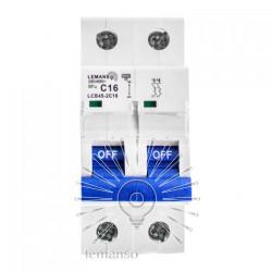 Автоматичний вимикач Lemanso 4.5KA (тип С) 2п 16A LCB45 Lemanso - 2