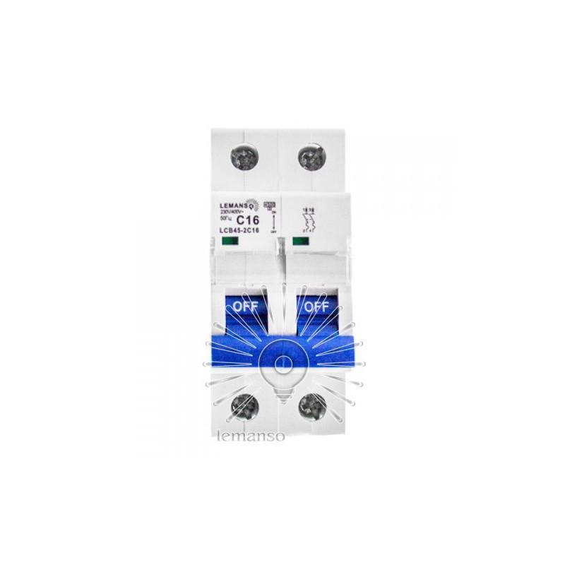Автоматический выключатель Lemanso 4.5KA (тип С) 2п 25A LCB45 Lemanso - 1