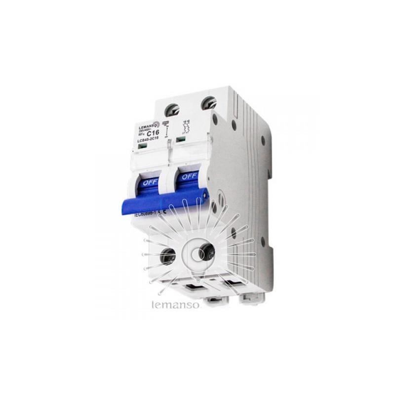 Автоматичний вимикач Lemanso 4.5KA (тип С) 2п 63A LCB45 Lemanso - 1